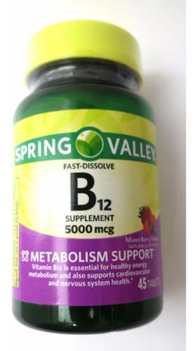 vitamina b12 spring valley sabor mixed berry 5000mcg 45 cáps