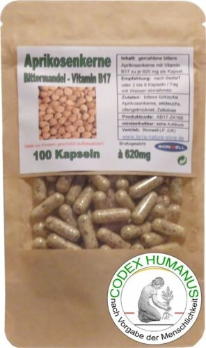 vitamina b17 semilla de albaricoque de 620mg / 100 capsulas