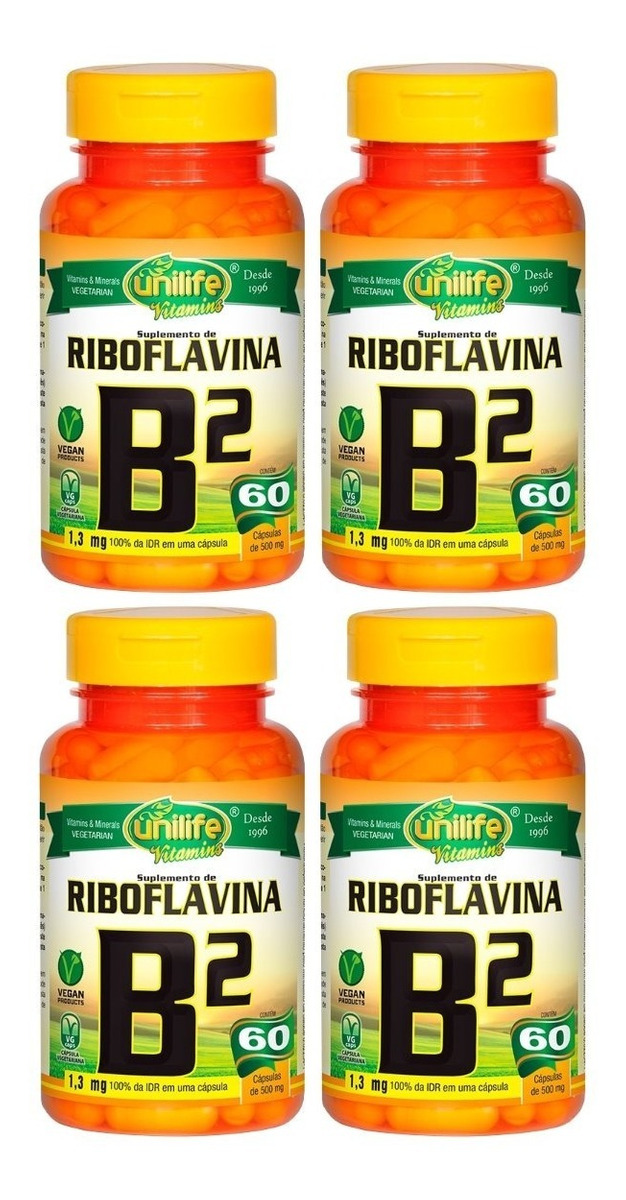 Vitamina B2 Riboflavina 60 Cápsulas 500mg Unilife Kit 4 Unidades
