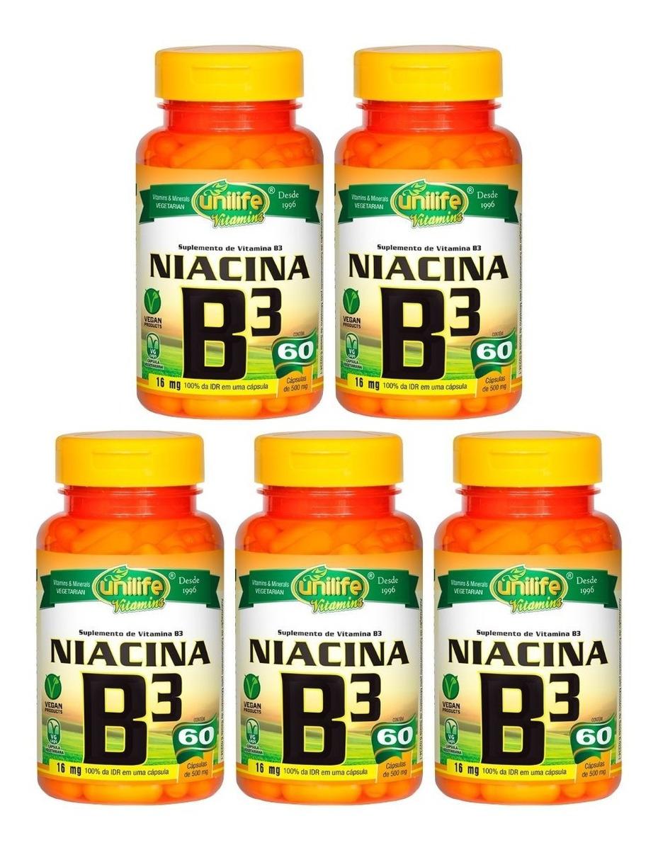 Vitamina B3 Niacina 60 Cápsulas 500mg Unilife Kit 5 Unidades