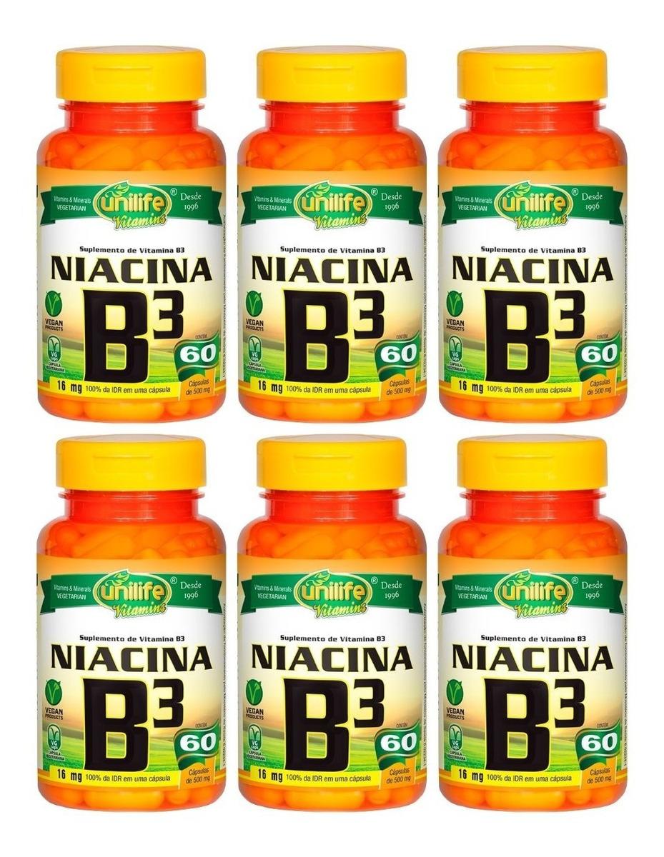 Vitamina B3 Niacina 60 Cápsulas 500mg Unilife Kit 6 Unidades