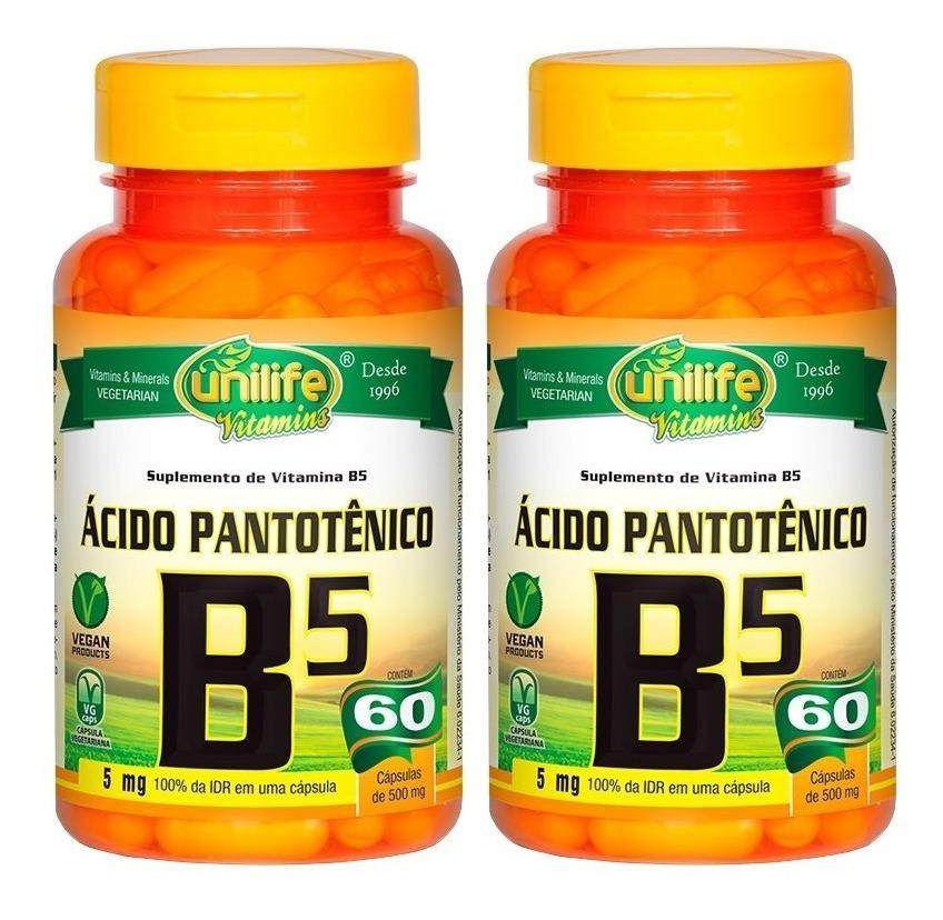 Vitamina B5 Ácido Pantotênico 60 Cápsulas 500mg Unilife Kit 2 Unidades
