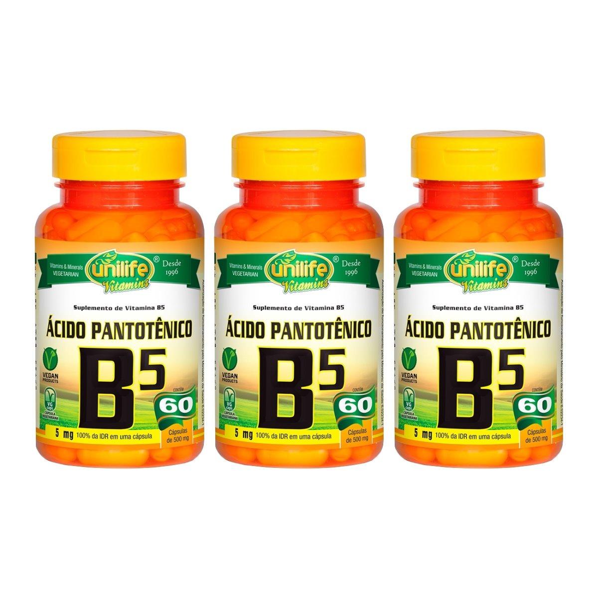 Vitamina B5 Ácido Pantotênico 60 Cápsulas 500mg Unilife Kit 3 Unidades