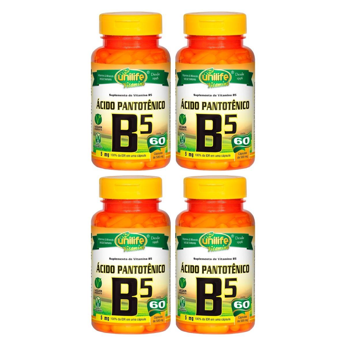 Vitamina B5 Ácido Pantotênico 60 Cápsulas 500mg Unilife Kit 4 Unidades