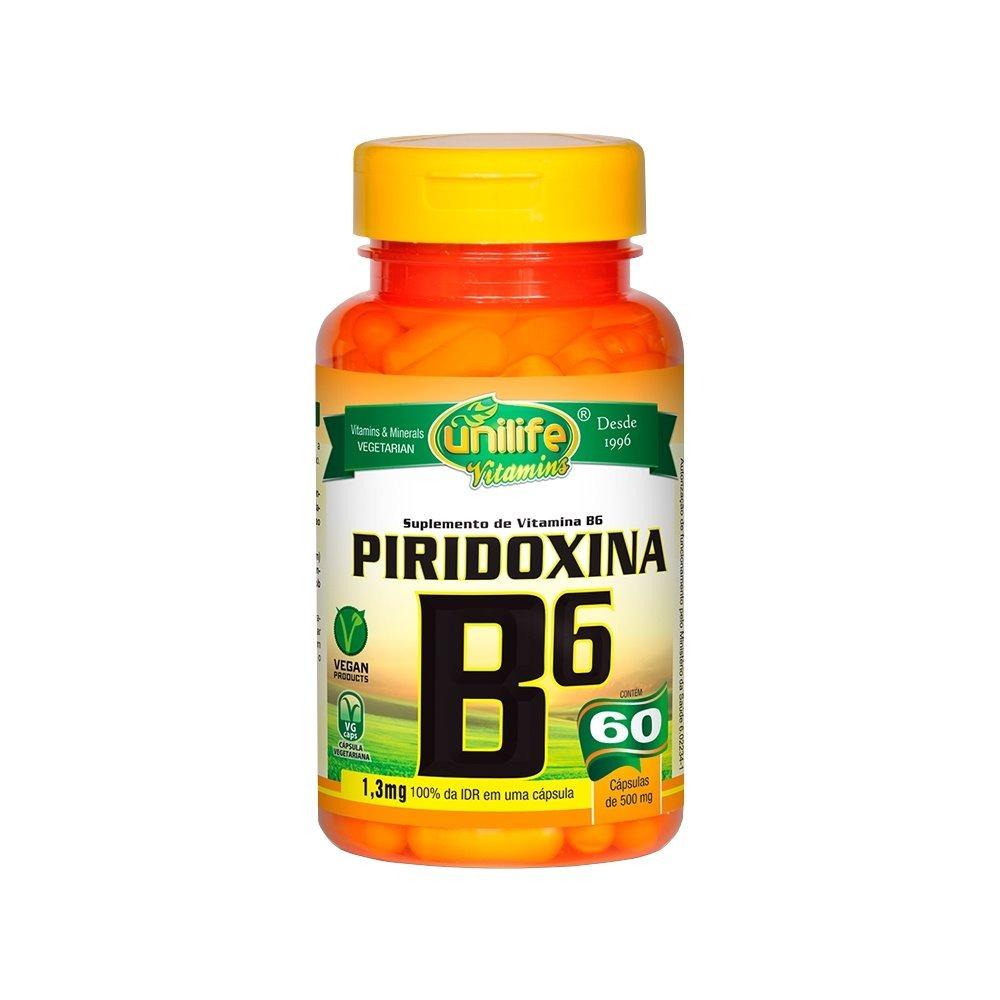 Vitamina B6 Piridoxina 60 Cápsulas 500mg Unilife