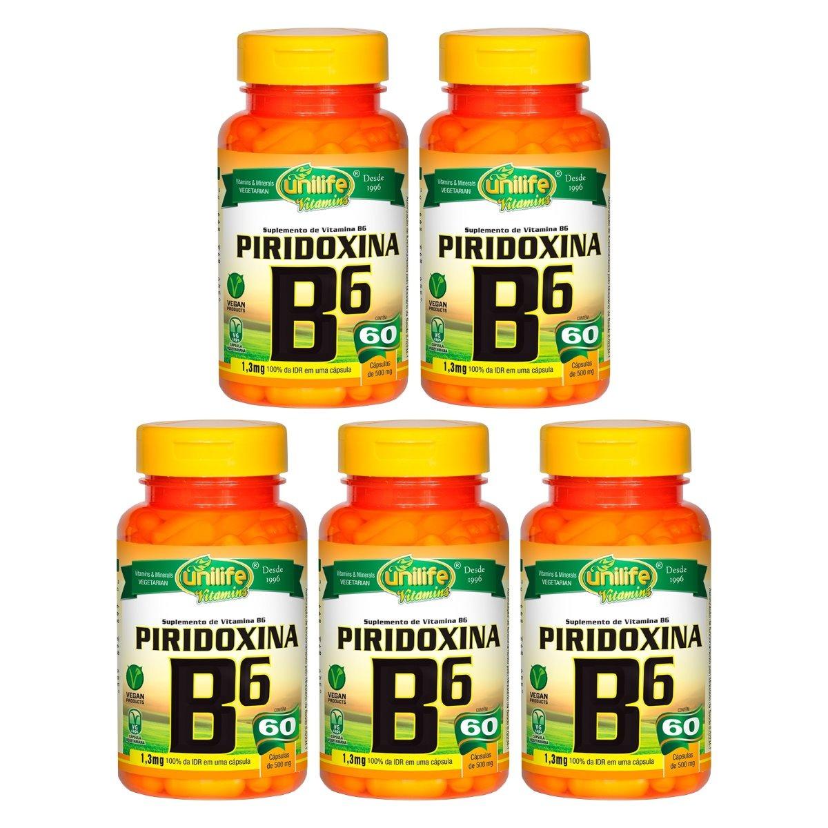 Vitamina B6 Piridoxina 60 Cápsulas 500mg Unilife Kit 5 Unidades