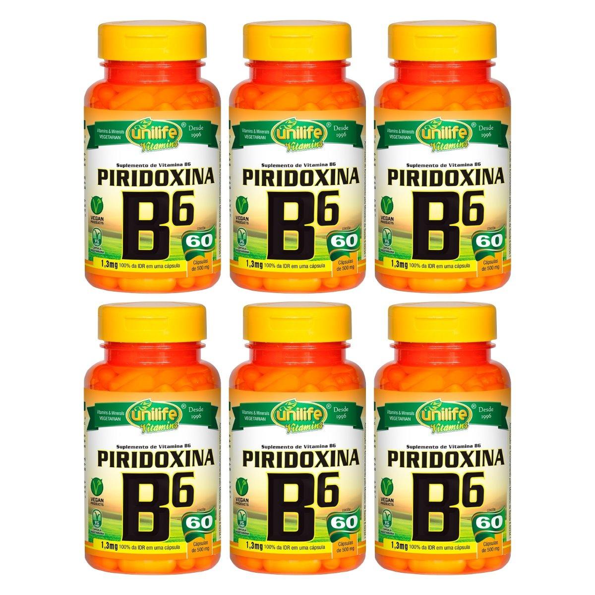 Vitamina B6 Piridoxina 60 Cápsulas 500mg Unilife Kit 6 Unidades