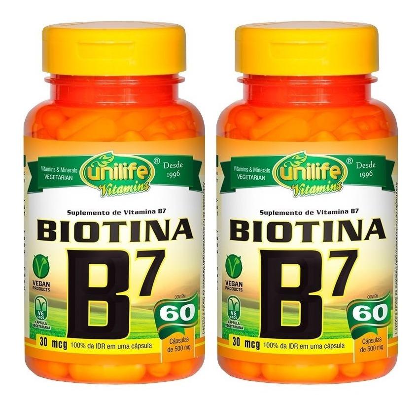 Vitamina B7 Biotina 30mcg 60 Cápsulas 500mg Unilife Kit 2 Unidades