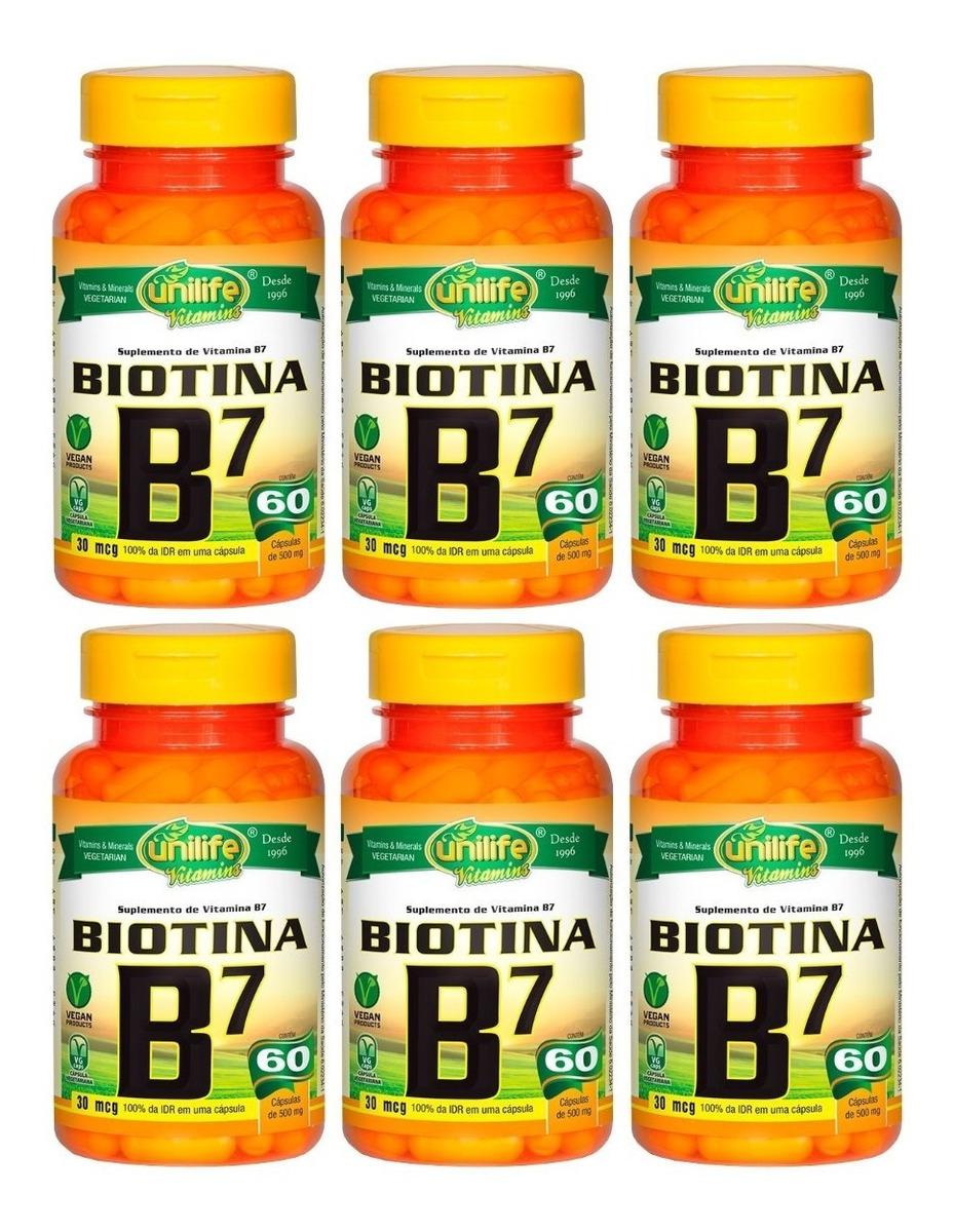 Vitamina B7 Biotina 30mcg 60 Cápsulas 500mg Unilife Kit 6 Unidades