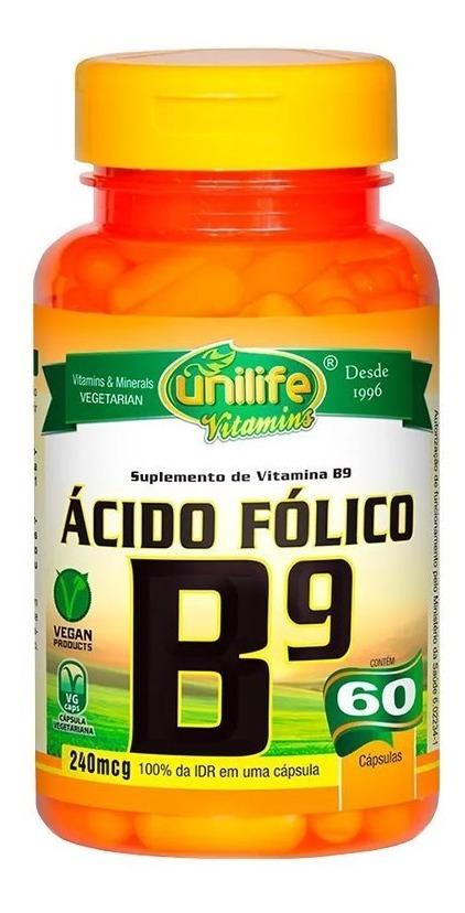 Vitamina B9 Ácido Fólico 60 Cápsulas 500mg Unilife