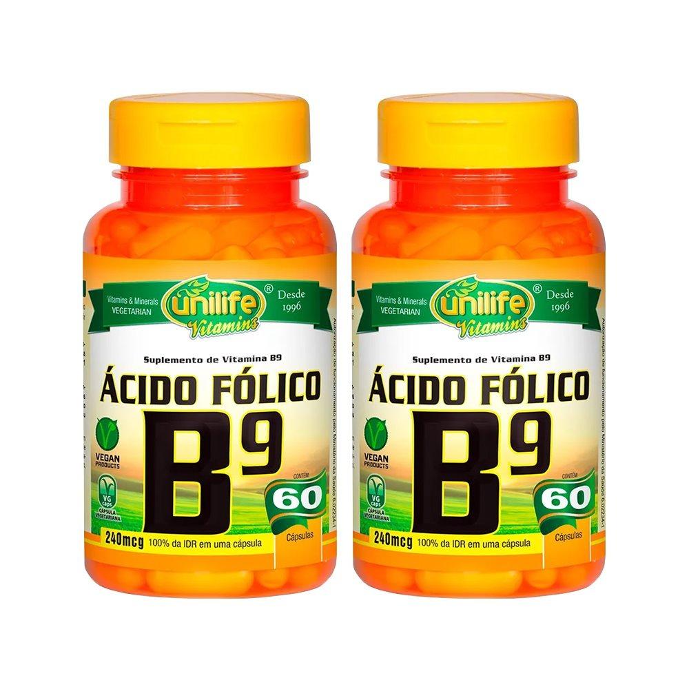 Vitamina B9 Ácido Fólico 60 Cápsulas 500mg Unilife Kit 2 Unidades