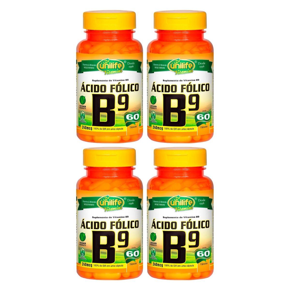 Vitamina B9 Ácido Fólico 60 Cápsulas 500mg Unilife Kit 4 Unidades