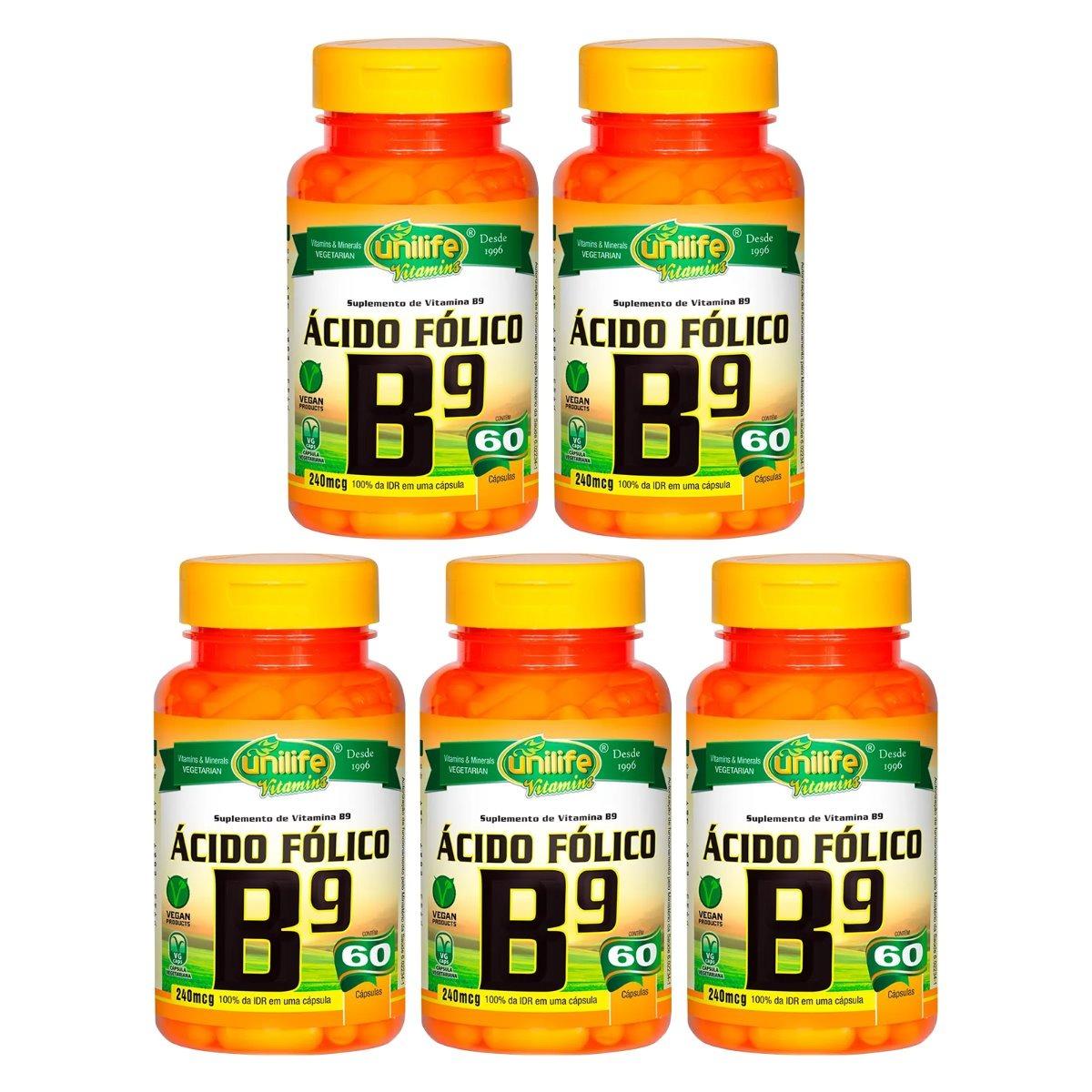 Vitamina B9 Ácido Fólico 60 Cápsulas 500mg Unilife Kit 5 Unidades