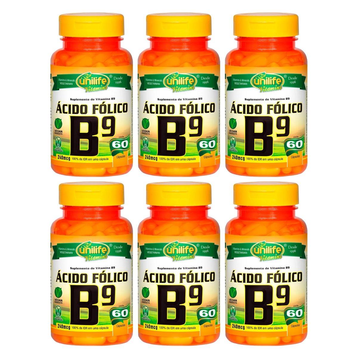 Vitamina B9 Ácido Fólico 60 Cápsulas 500mg Unilife Kit 6 Unidades