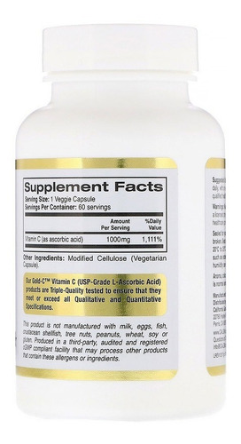 vitamina c 1000mg california gold - 60 cápsulas vegetais