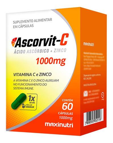 vitamina c 1000mg + zinco ascorvit-c com 60 cápsulas