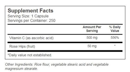 vitamina c 500mg com rose hips 250 capsulas importado