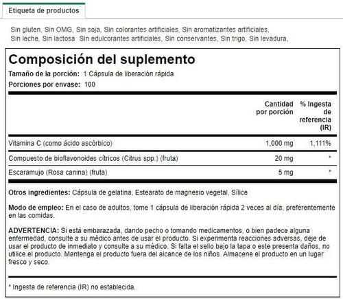 vitamina c con rosa mosqueta y bioflavonoides - 1,000mg