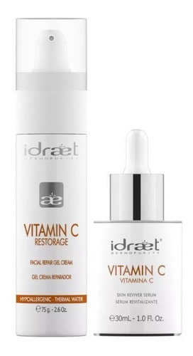 vitamina c crema dia + serum noche kit  idraet