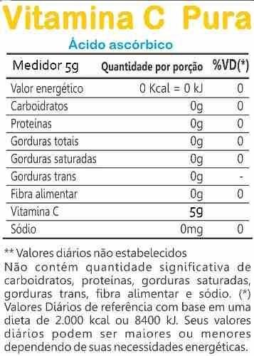 vitamina c em pó ácido ascórbico 1kg 100% pura possui laudo