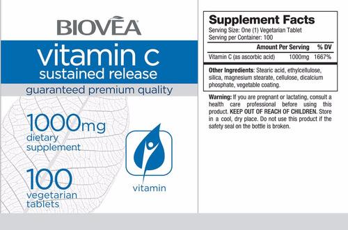 vitamina c importada - liberação contínua 1000mg - 100 caps