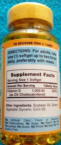 vitamina d-3 1000 iu 100 cápsulas importada de usa