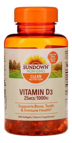 vitamina d3 1000 ui sundown naturals 400 softgels importado