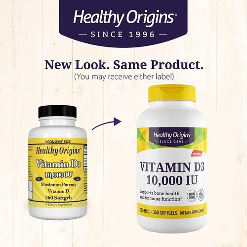 vitamina d3 10.000 iu 360 softgels -  healthy origins