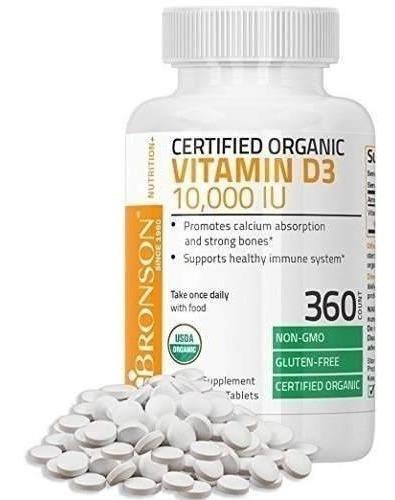 vitamina d3 10,000 iu organico non-gmo bronson 360 tablets