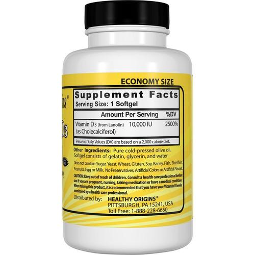 vitamina d3 10,000ui 360 softgels healthy origins cod. 101