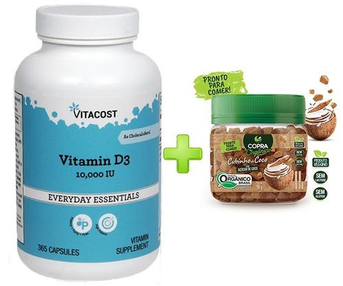 vitamina d3 10,000ui 365 capsulas vitacost + brinde cubinho