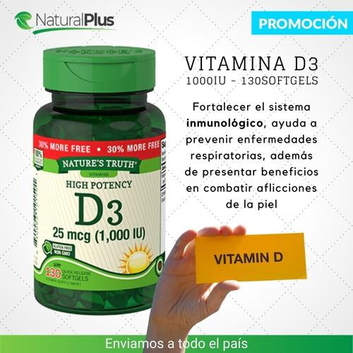 vitamina d3 1000iu nature's truth |  promo x2 frascos 260sof