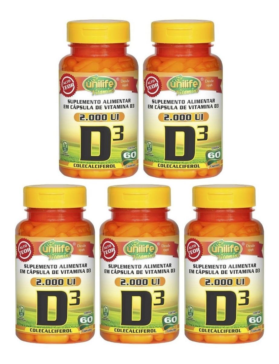 Vitamina D3 2.000 Ui Colecalciferol 60 Cápsulas Unilife Kit 5 Unidades