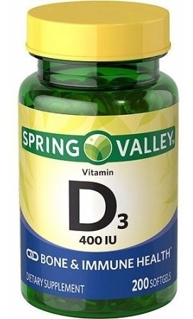 vitamina d3 400iu spring valley 200 cápsulas entrega rápida