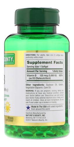 vitamina d3 5000iu c/ 240 softgels nature's bounty importado