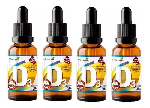 vitamina d3 em gotas - 4x 30 ml - melcoprol frutas vermelhas