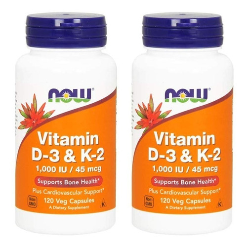 vitamina d3 y k2 now / 120 capsulas