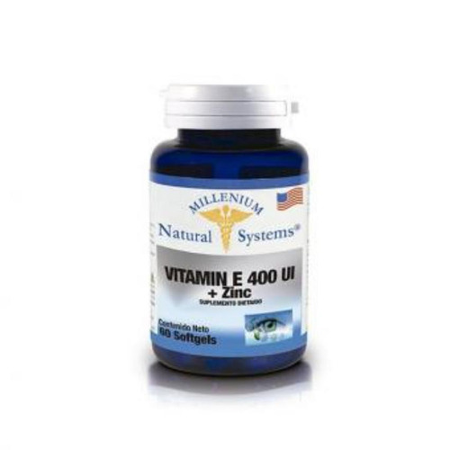 vitamina e 400 iu + zinc millenium natural system 60 capsula