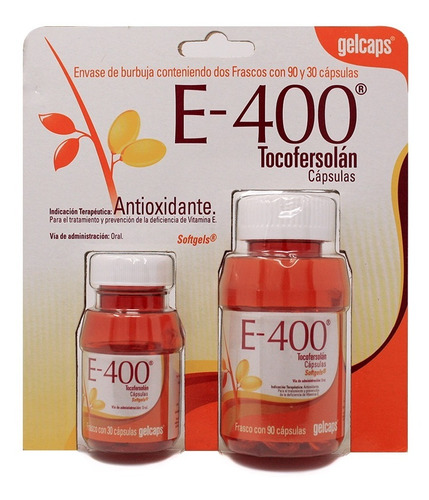 vitamina e 400mg con 120 gelcaps - antioxidante