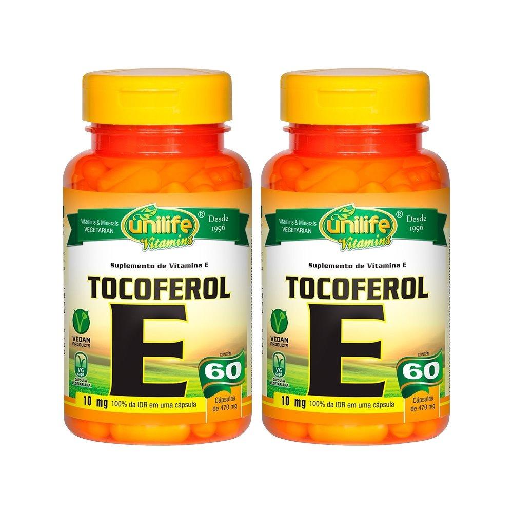 Vitamina E Tocoferol 10mg 60 Cápsulas 470mg Unilife Kit 2 Unidades