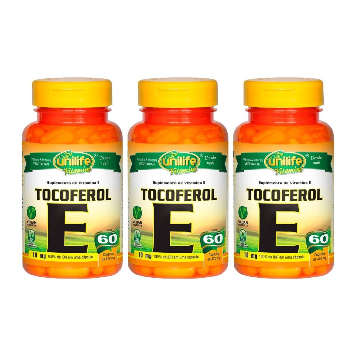 Vitamina E Tocoferol 10mg 60 Cápsulas 470mg Unilife Kit 3 Unidades