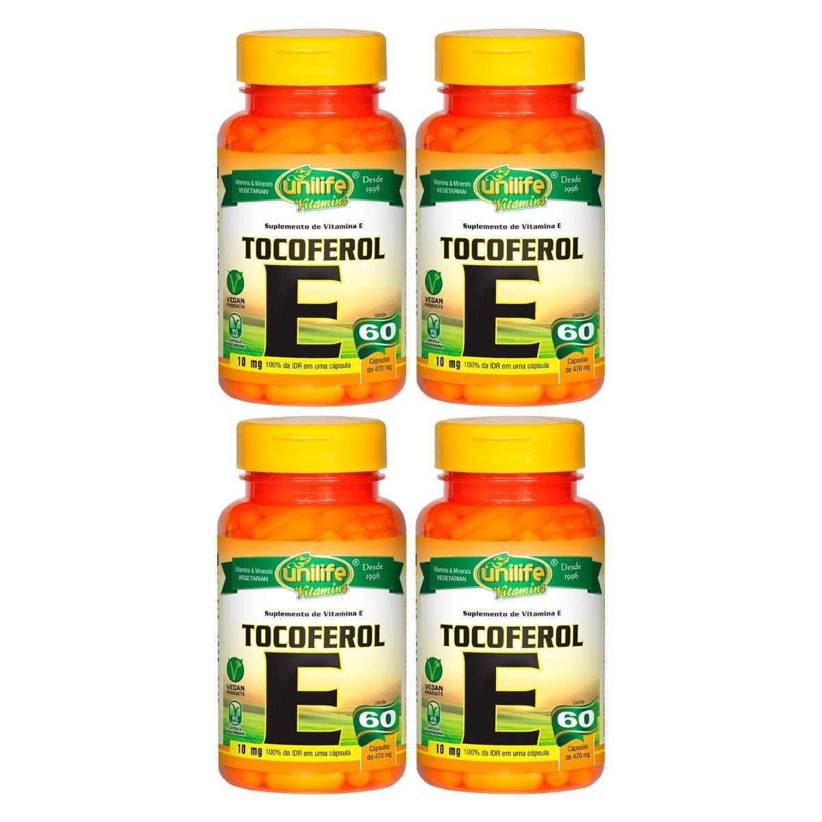 Vitamina E Tocoferol 10mg 60 Cápsulas 470mg Unilife Kit 4 Unidades