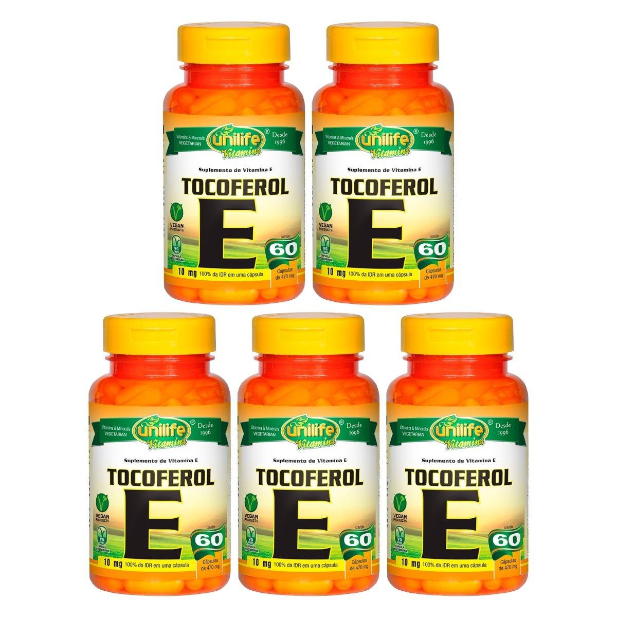 Vitamina E Tocoferol 10mg 60 Cápsulas 470mg Unilife Kit 5 Unidades