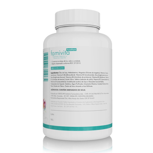 vitamina famiferti fertilidade feminina 120 cápsulas