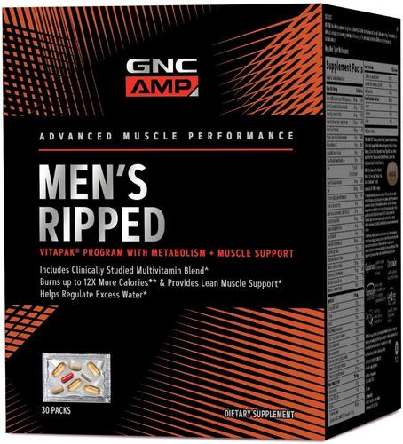 vitamina gnc amp vitapak ripped mens - 30 paquetes