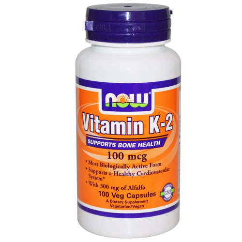 vitamina k-2 100mcg 100 cápsulas now foods- pronta entrega