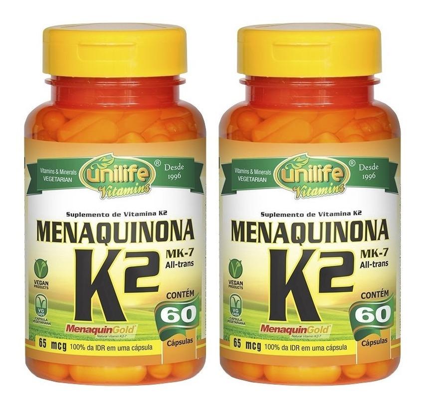 Vitamina K2 Menaquinona MK-7 60 Cápsulas Unilife Kit 2 Unidades