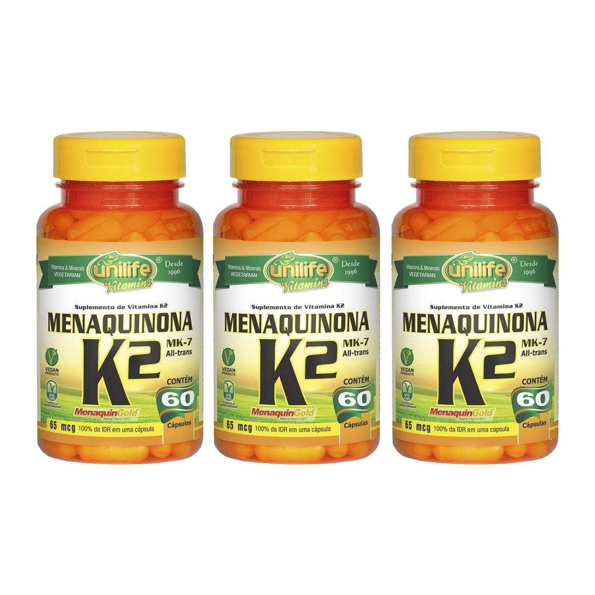 Vitamina K2 Menaquinona MK-7 60 Cápsulas Unilife Kit 3 Unidades