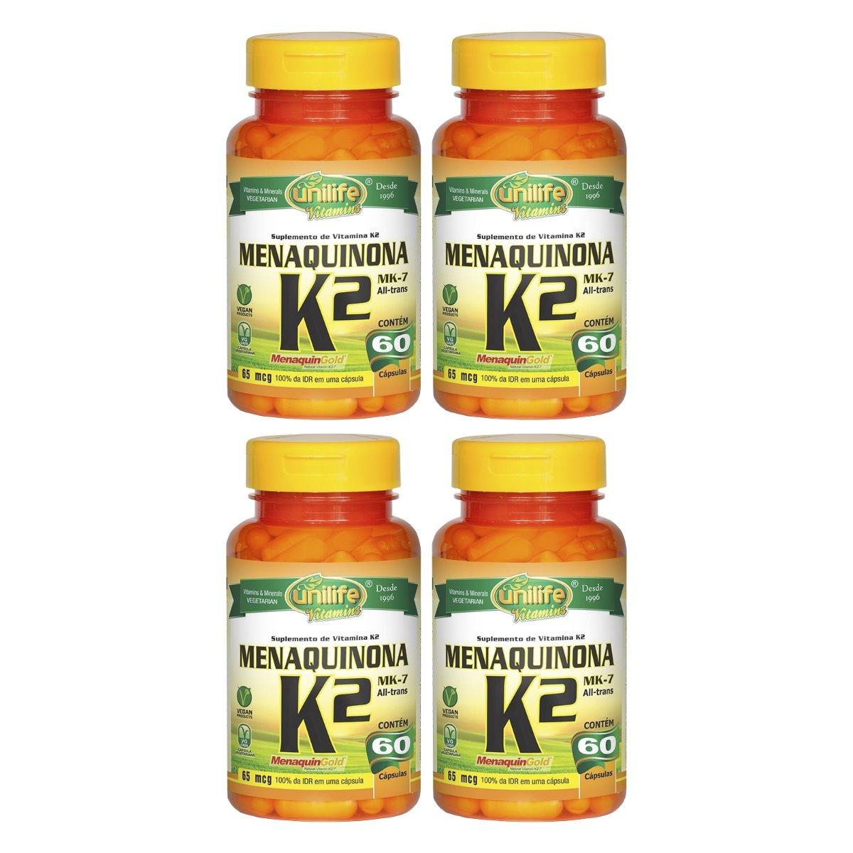 Vitamina K2 Menaquinona MK-7 60 Cápsulas Unilife Kit 4 Unidades