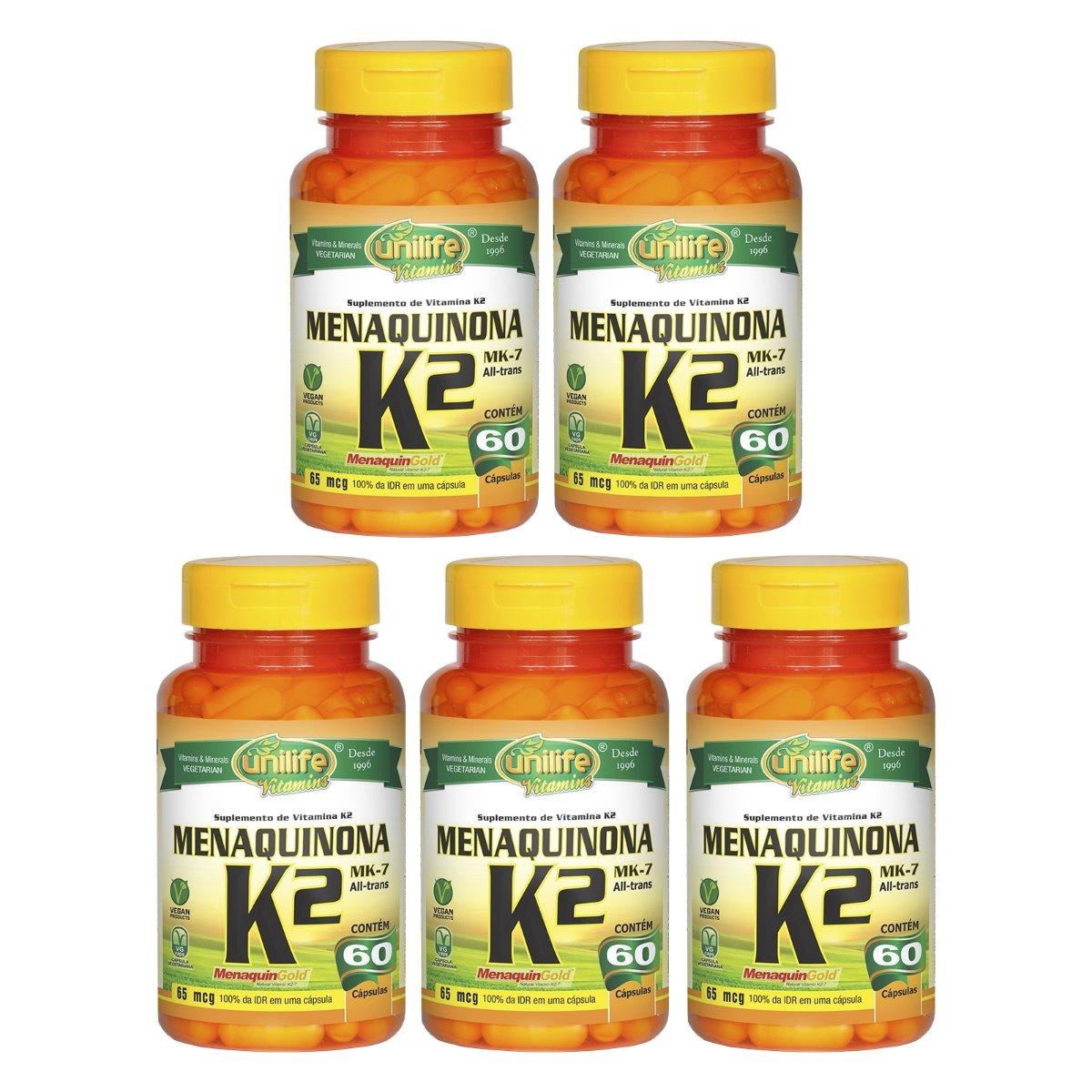 Vitamina K2 Menaquinona MK-7 60 Cápsulas Unilife Kit 5 Unidades
